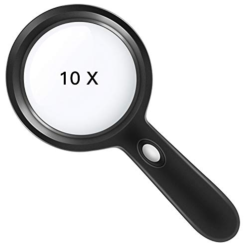 Lighted Magnifying Glass-10X Handheld Reading Magnifier Glass with 12 LED Lights for Seniors & Kids- Large and Real Magnifying Lens for Seniors Reading, Soldering, Inspection, Coins, Jewelry, Explorin