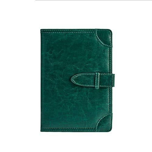 LICHUAN A5 de Cuero de imitación Cuaderno Diario de la Hebilla del Anillo de diseño, Hay 5 Colores de la Negro Azul Verde Rojo Amarillo (Color : Green)