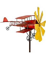 CIM Metalen windspel - vliegtuigrode baron - weerbestendig, met antiek effect - windmolen: Ø30cm, motief: 44x46cm, totale hoogte: 160cm - incl. staander