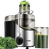 Entsafter Gemüse und Obst AICOOK, 75MM Große Einfüllöffnung Zentrifugaler Entsafter mit 2 Geschwindigkeiten, rutschfeste Füße, Edelstahl, BPA frei [Energieklasse A+++]