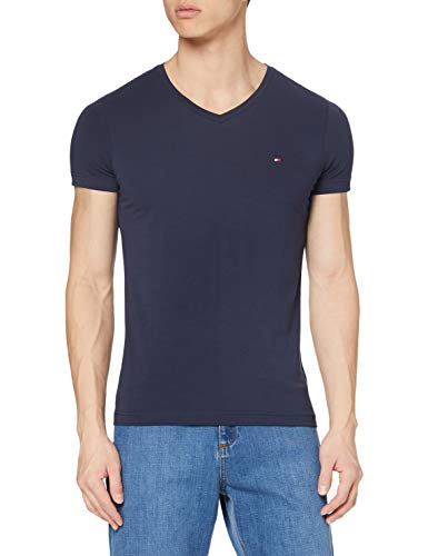 Tommy Hilfiger Herren CORE Stretch Slim Vneck Tee T-Shirt, Blau (Navy Blazer 416), Medium