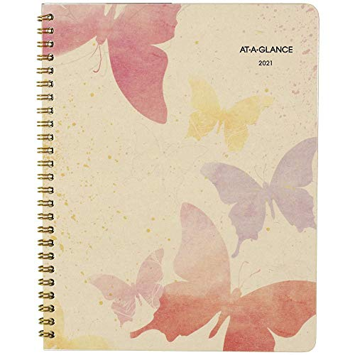 2021 Monthly Planner by AT-A-GLANCE, 7' x 8-3/4', Medium, Recycled, Watercolors (791-800G-21)