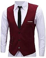 PXS Vest V-Neck Sleeveless Slim Fit Jacket Men Business Waistcoat (Red, M)