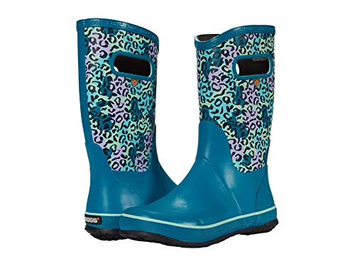 Bogs Kids Girl's Rain Boots Leopard (Toddler/Little Kid/Big Kid) Teal Multi 13 Little Kid M