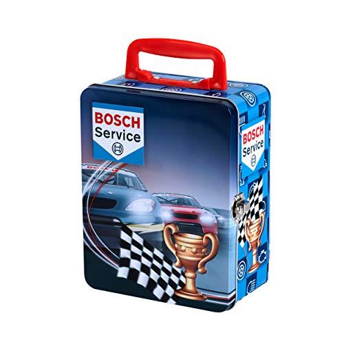 Theo Klein 8726 Bosch Car Service Sammelkoffer aus Metall für 18 Autos im Maßstab 1:64, Multicolor
