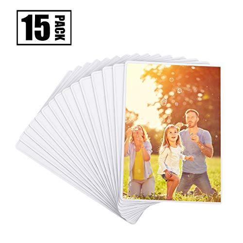 Magnetische Fototaschen, Magiclfy 15 Stück Magnet Bilderrahmen Fotorahmen für Fotos Postkarten von 10 x 15 cm für Kühlschrank, Weiß