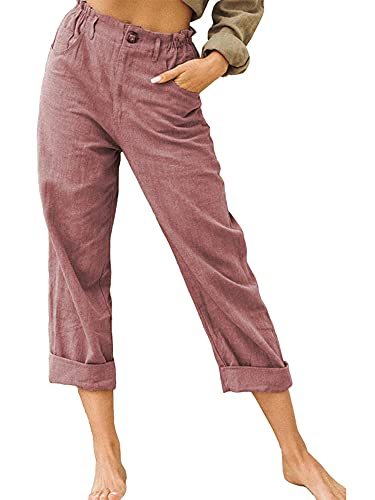 Women Solid Color Straight Trousers Slim Fit High Waist Long Pants with Pockets for Spring Autumn Streetwear (Wine Red, Small)