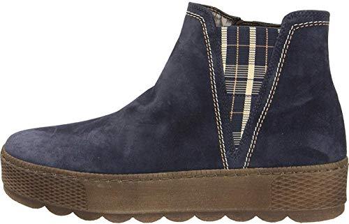 Gabor Damen Chelsea Boots 36.560, Frauen Stiefelette,Stiefel,Halbstiefel,Bootie,Schlupfstiefel,flach,Marine(GZKaro/Mel),42 EU / 8 UK