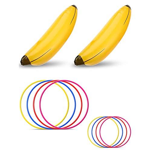JuneJour Bachelorette Party Game 5 Stücke Aufblasbare Banane Ring Wurfspiel Kit, 1 Stück Banane mit 4 Stück Kunststoff Wurfringe zum Werfen von Spielen Party Dekorationen