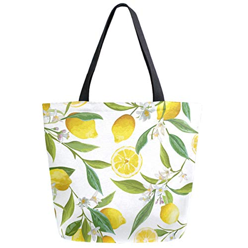 ZzWwR Chic Fresh Tropical Lemons Floral Large Canvas Shoulder Tote Top Handle Bag for Gym Beach Travel Shopping