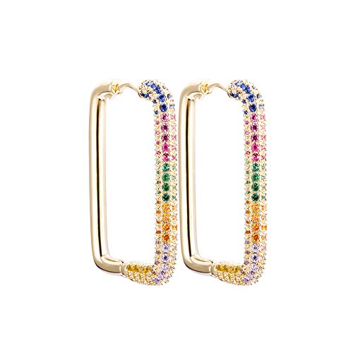 PengJin orecchini quadrati da donna, in rame lucido zircone cubico per orecchie sensibili, per ragazze, delicati regali di compleanno, anniversario, regalo e Rame