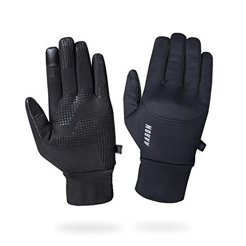 AARON Gloves Fahrradhandschuhe für Damen und Herren, warme Handschuhe mit Touchscreenfunktion, rutschfeste Sporthandschuhe zum Radfahren, Joggen und Wandern in schwarz