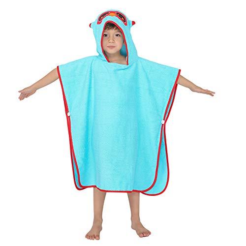 Poncho de Baño Para Niños Toallas con Capucha Toalla de Baño de Algodón Albornoz Toalla de Playa Orgánica Suave Cálida Animal Esponjoso Para Nñas Niños Bebé (Búho Azul)