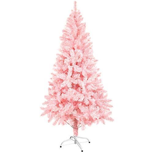 Sunjas Weihnachtsbaum künstlicher, 120/150 cm in Pink Tannenbaum, Christbaum, inkl. Metallständer, schwer entflammbar (120cm)