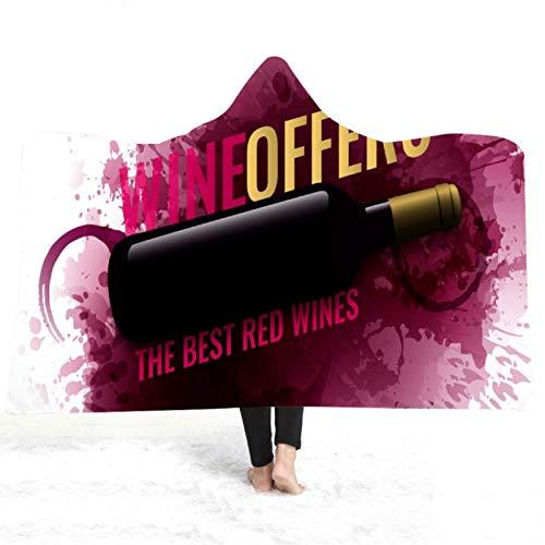 Manta de felpa con capucha de vino tinto con impresión 3D cálida Sherpa manta de forro polar invierno al aire libre casa sofá cama cubierta 150 x 200 cm