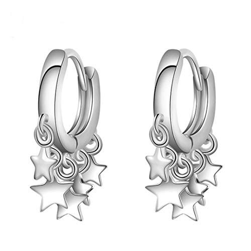 Pendientes de aro para mujer, diseño de estrella dorada, con borla, color blanco