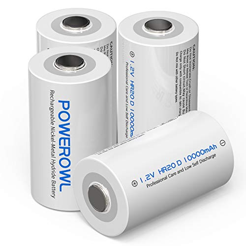 POWEROWL D Cell 1.2V Rechargeable D Batteries 10000mAh Ni-MH, 4-Pack (Low...