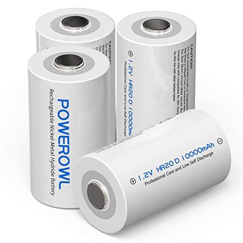 POWEROWL D Akku Mono D Akku 1.2V 10000mAh NI-MH Wiederaufladbar Batterien mit Geringer Selbstentladung & Vorgeladene (4 Stück)