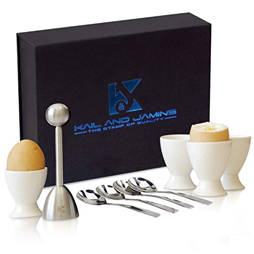 K&J's Egg Cups & Cracker Set with Beautiful Storage Box – Set Includes 4 Ceramic Egg Holders + 4...
