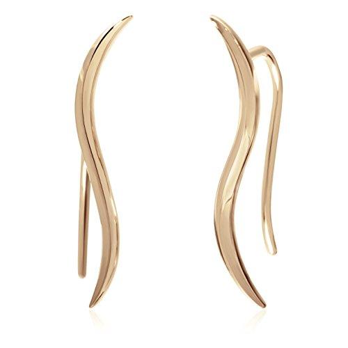 S.Leaf Gold Earrings for women Climber Earrings Ear Crawler Cuff Earrings Sterling Silver (gold)