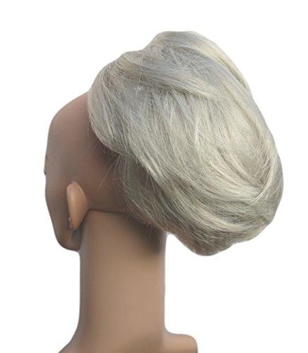 Diversi colori! Coda Dolce Corta E Riccia Hair Extension, (con Pinze) Argento Miscela Grigio
