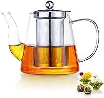 Glass Teapot 1000ml with Removable Infuser, Stovetop Safe Tea Maker Set for Loose Leave Tea, Best Gift Idea, Bonus Included