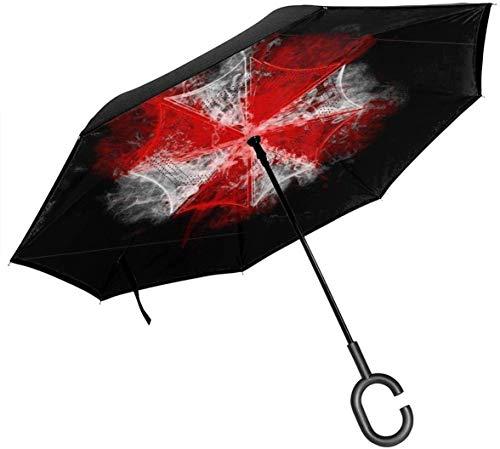 Umbrella Corp Paraguas invertido Evil Resident Evil de Doble Capa para el automóvil Reversa Plegable Al revés Manos en Forma de C - Ligero y a Prueba de Viento y Ndash;