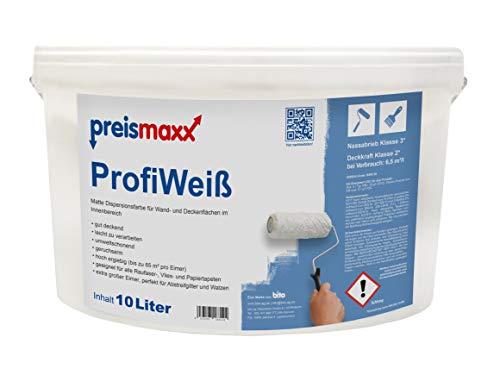 preismaxx Wandfarbe, weiß, gute Deckkraft Klasse 2, matt, 10 Liter, ProfiWeiß