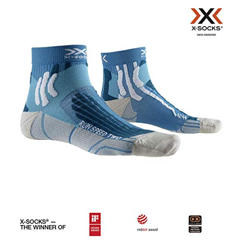 X-Socks Run Speed Two Socks, Unisex – Adulto, Teal Blue/Pearl Grey, 42-44