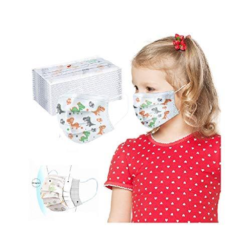 Jamicy 50STK Mundschutz Kinder mädchen,Eisseide Mundbedeckung Stoff mundschutz Baumwolle mit Filter Atmungsaktive Gesichtsschutz für Camping,Laufen,Radfahren