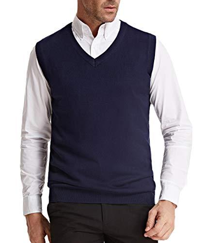 PJ PAUL JONES Sweater Vest for Men Knit Slim Fit V-Neck Pullover Vest L Navy