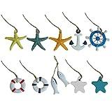 Happyyami, 10 piezas náuticas colgantes de resina con forma de ancla, anillo de vida, rueda de barco, figuras de pez, miniaturas mediterráneas, decoración de pared náutica
