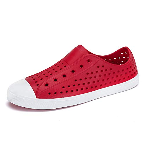 Mens Womens Lightweight Breathable Slip-On Sneaker Garden Clogs Beach Sandals Water Shoes Red