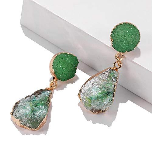 XAOQW Bohemian Verde Resina Piedra ZA Clip en Pendientes no Perforados para Las Mujeres joyería Auriculares Eardrop Larga aretes-Mix Verde