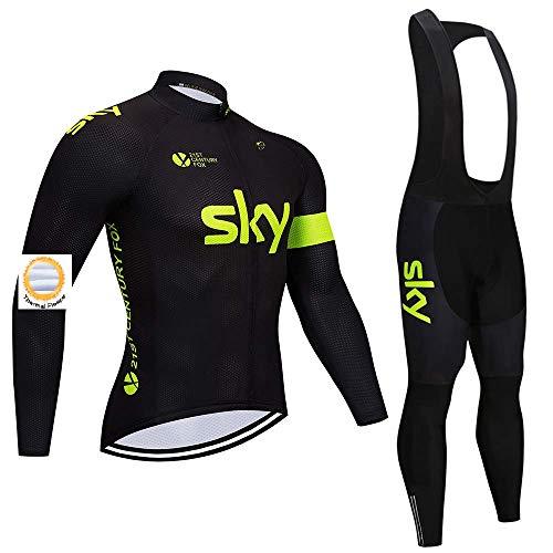 Completo da Ciclismo Invernale per Uomo, Maglia da Ciclismo in Pile Termico con Pantaloni con Bretelle per MTB e Team di Professionisti