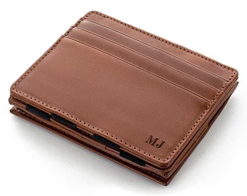 JAIMIE JACOBS Flap Boy mit Gravur - Das Original - Magischer Geldbeutel mit Münzfach RFID-Schutz Geschenk Herren echtes Leder (Dunkelbraun)