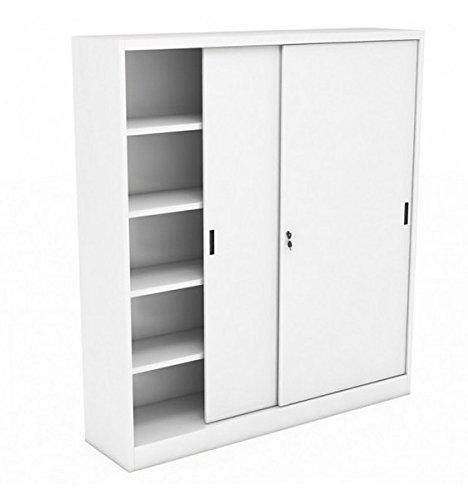 Icam - Armario de metal con puertas correderas, 120 x 45 x 200 cm, color gris: Amazon.es: Hogar