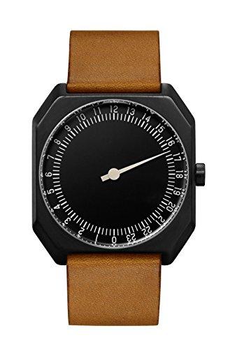slow Jo 19 – Braun Vintage Leder schwarz Fall Schwarz Zifferblatt Unisex Quarzuhr mit schwarzem Zifferblatt Analog-Anzeige und braunem Lederband