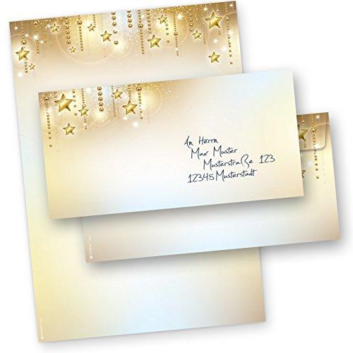 PREMIUM Briefbogen Weihnachten modern Set STARDREAMS (25 Sets ohne Fenster) DIN A4 90g Weihnachtsbriefpapier mit Umschläge-Kuvert