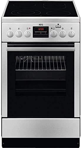 AEG CCB56400BX freistehender Elektroherd / 58L / Edelstahl und Schwarz/ 50 cm Backofen mit Glaskeramik-Kochfeld / SteamBake mit Feuchtigkeitszugabe