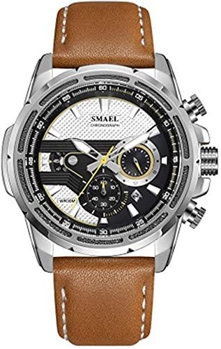 NLRHH Correa para Hombres Relojes Deportes al Aire Libre Cuero Cronógrafo de Cuarzo analógico Impermeable Reloj de Moda Peng (Color: B)-re