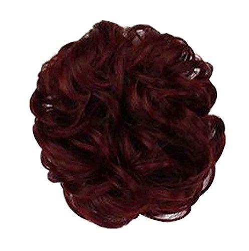 Panino con capelli finti con fascia elastica per capelli, facile da indossare [Vino rosso]