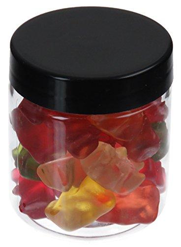 Pot de PET 75 ml transparent, avec couvercle en plastique, noir, 50 pièces