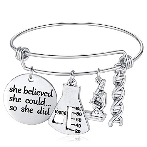 She Beliveved She Could So She Did Bracelet Biology Chemistry Gift for Women Chemist Biologist Teachers Inspirational Graduation Gifts