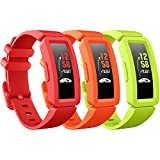 eseekgo Compatible with Fitbit Ace 2 Bands for Kids 6+, 3-Pack Colorful Silicone Rubber Adjustable Replacement Sport Swim-Friendly Bands for Girls Boys, Lime+Orange+Red