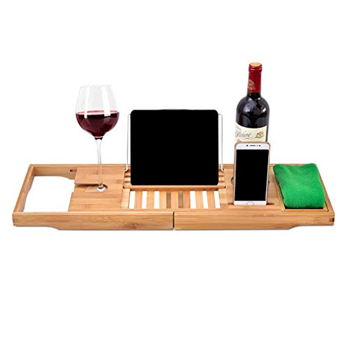 ZHAO Bamboo Bathtub Caddy Tray, Expandable Natural Wood Bath Tub Organizer with Wine Holder, Reading Rack, Cellphone Tray, for Spa, Bathroom & Shower