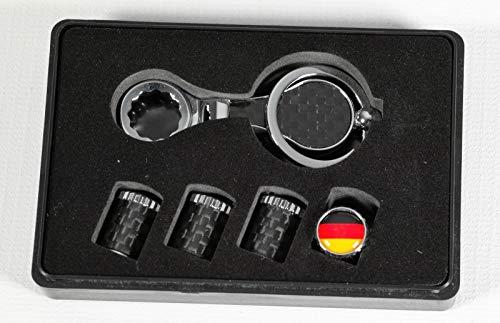 MAX AUTO Carbon Tapones de válvula de carbono para neumáticos con protección antirrobo de Alemania