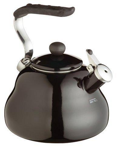 KitchenCraft Le`Xpress Pfeifender Wasserkessel, Schwarzer Emaille Wasserkocher, 2 Liter Volumen, Öffnung auf Knopfdruck in Geschenkbox