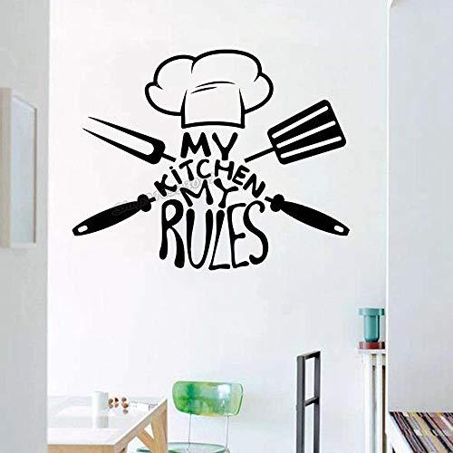 WERWN Küche Wandmesser Löffel Gabel Chef Hut Wandaufkleber Küche Home Decor Design Küche
