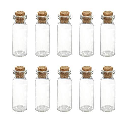 BAWAQAF 10 unidades, botella de cristal transparente, botella de deseos con corcho, botella de deriva multifuncional, botella vacía para reuniones familiares